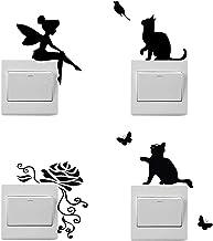 4 pegatinas de dibujos animados para interruptores de luz, pegatinas de hadas, pegatinas de flores, pegatinas de gatos par...