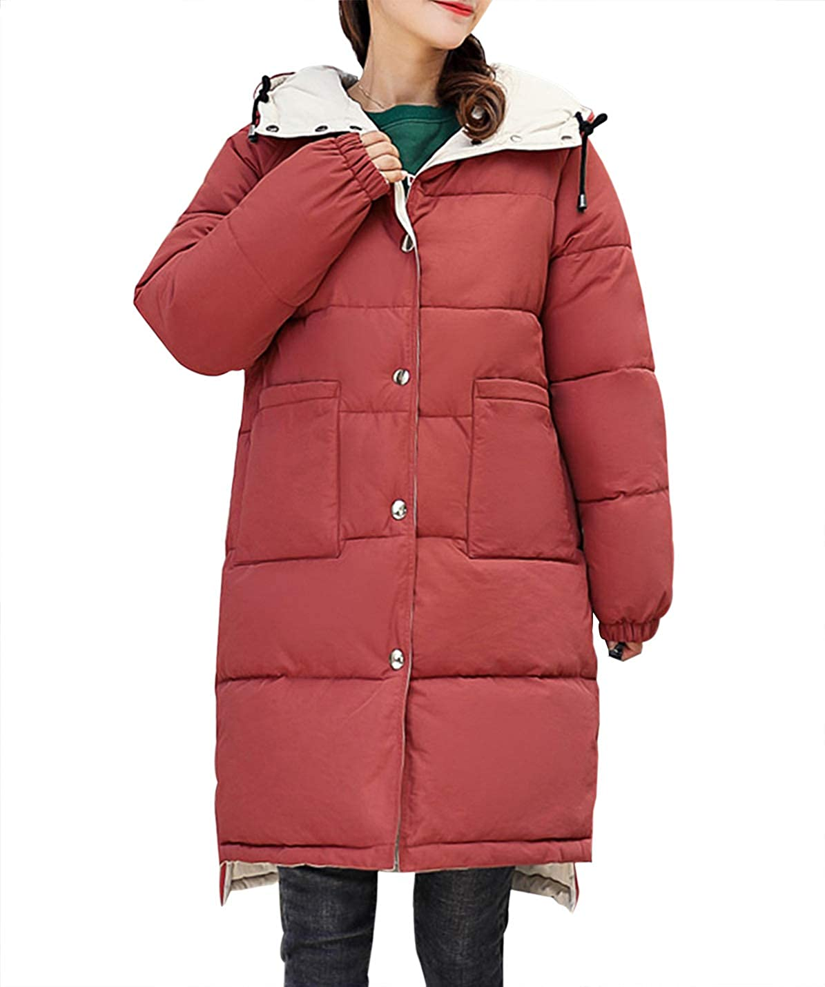Women's Reversible Loose Quilted Down Alternative Hooded Coat