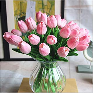 SHINE-CO LIGHTING PU Real Touch Tulips Artificial Flowers 10 Pcs Flowers Arrangement Bouquet for Home Office Wedding Decoration (Pink)