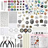 Funshowcase Cabochon Gem Pendant Earrings Epoxy Silicone Molds Jewelry Making Supply Kit Pack of 411 Lot, Polyclay Crafting