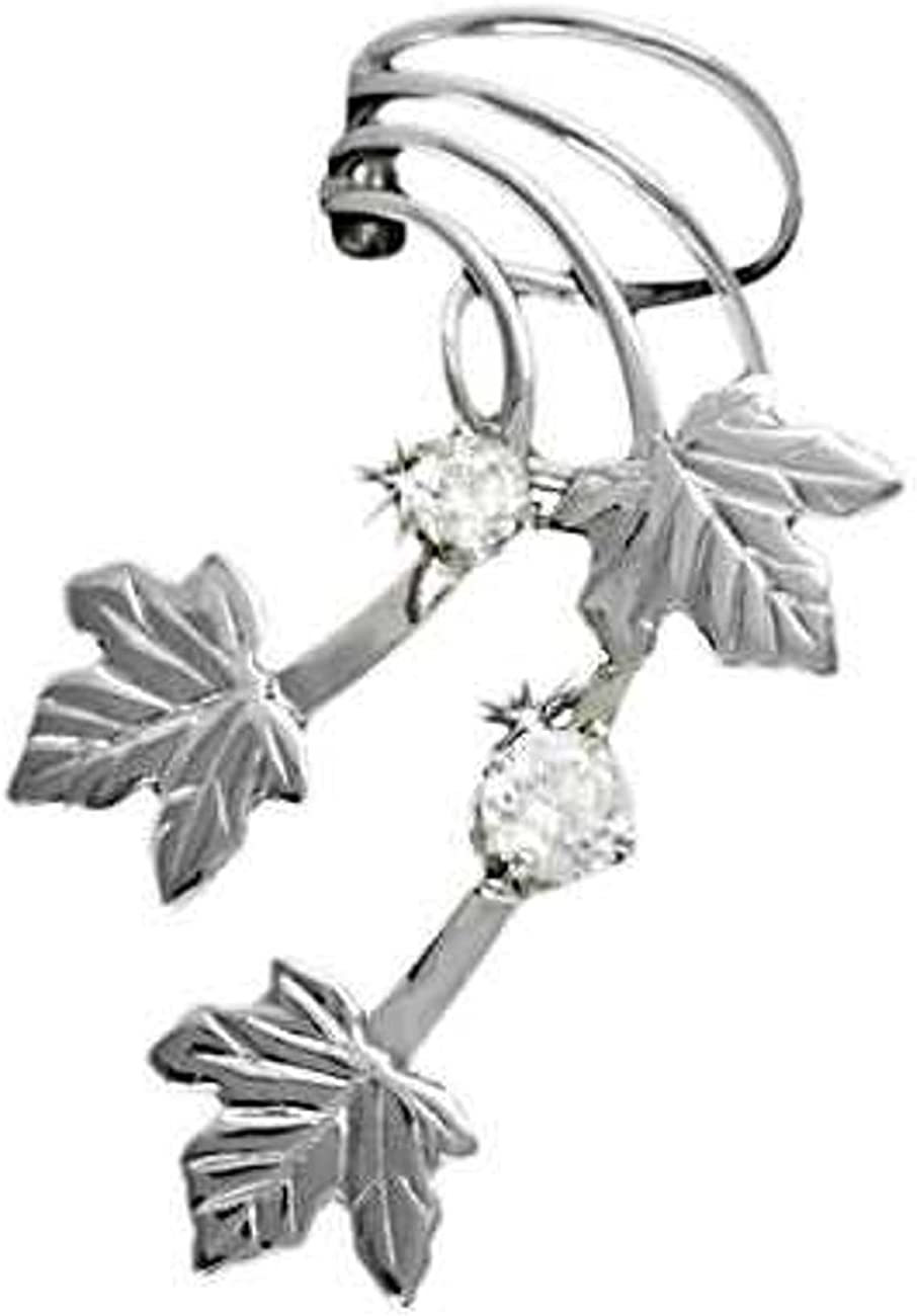 Sterling Silver Left Only Pierceless Maple Cuff OFFicial shop Max 90% OFF Wrap Ear Leaves