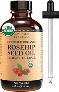 Organic Rosehip Seed Oil (4 oz), USDA Certified by Mary Tylor Naturals, Cold Pressed, Unrefined, Natural Moisturizer For Face Hair Skin and Nails, 100% Pure Rose Hip oil