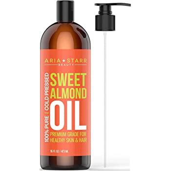 Aria Starr Sweet Almond Oil For Massage, Hair, Dry Skin, Body, Hair Food, Bath (16oz) Natural Carrier Oil For Essential Oils, Stretch Marks, Facial Cleansing Makeup Remover, Moisturizer