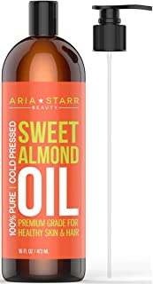Aria Starr Sweet Almond Oil For Massage, Hair, Dry Skin, Body, Hair Food, Bath (16oz) Best Natural Carrier Oil For Essential Oils, Stretch Marks, Facial Cleansing Makeup Remover, Moisturizer