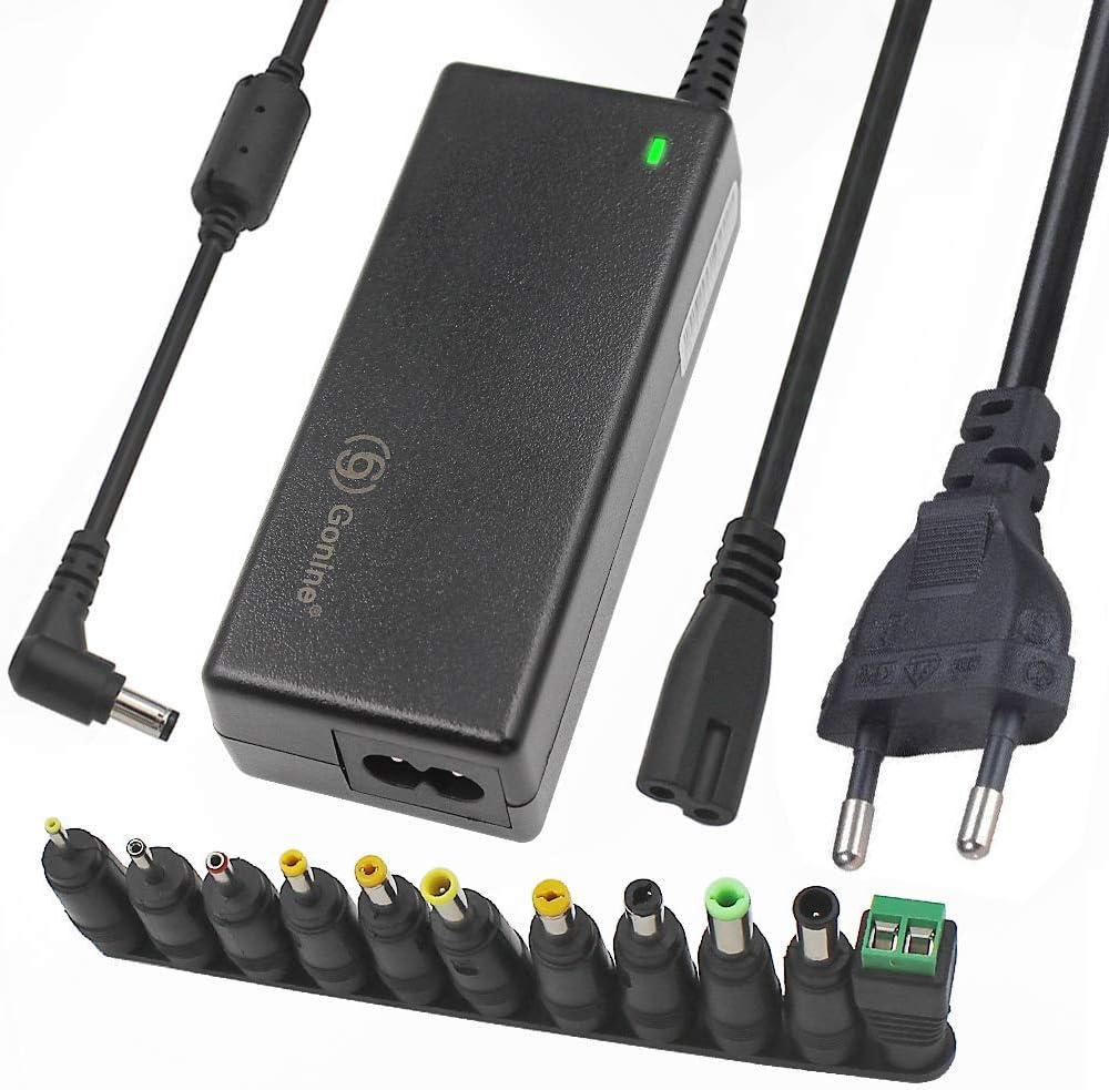 24V, 2,5A, 60W Fuente de alimentación conmutada de con Enchufe de CC de 5,5 x 2,1 mm y Conector de Clavijas de CC de 11 Piezas para Tiras de luz led, Monitor de computadora y más
