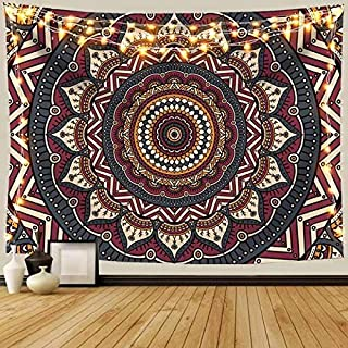 ANROYE Mandala Ombre Tapestry Wall Hanging, Bohemian Art Tapestries for Home Dorm Living Room Bedroom Ceiling Decor, Colorful Boho Blanket for Men Women with Non-Mark Hooks & Clips 51x59 Inches
