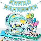 MOOKLIN ROAM - 134 Piezas Sirena Birthday Party Kit Accesorio de Decoración de Fiesta de Cumpleaños Desechable con Platos Servilletas Pancarta Vasos y Mantel Resistente para 16 Invitados