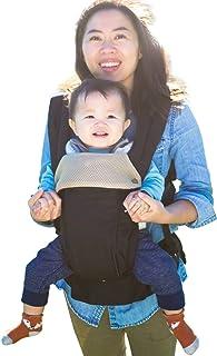 ルミエール 6WAY 抱っこ紐【アメリカで大人気】温度調節パネルで年中快適 - 前向き おんぶ 授乳可能 - 疲れにくい腰サポート付 (Black)