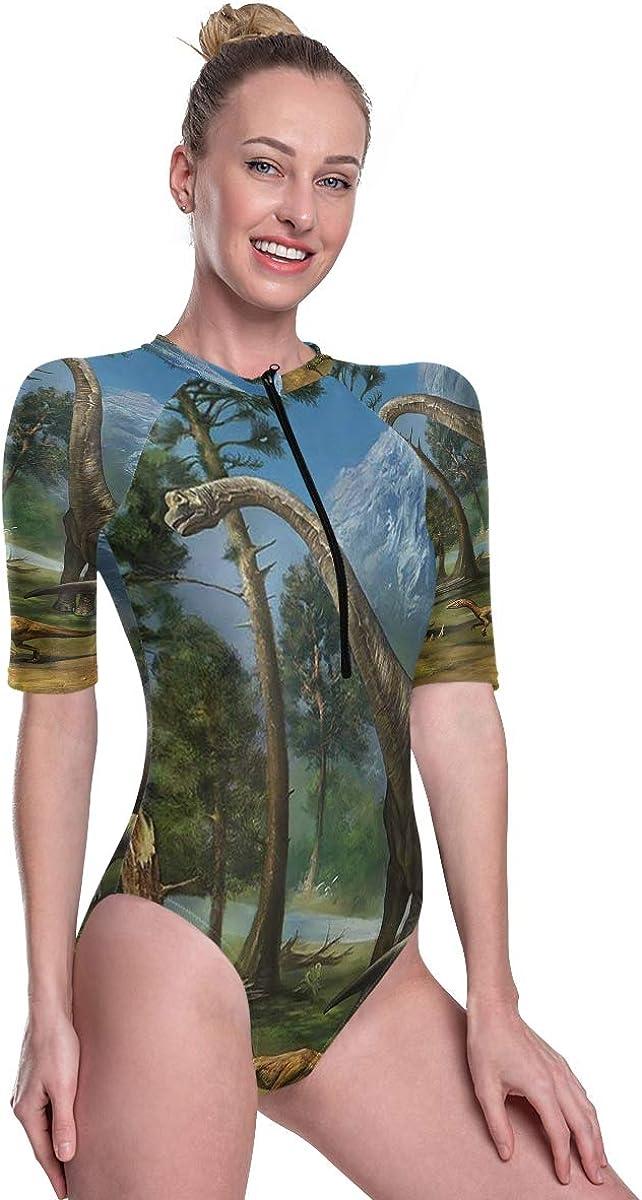 SLHFPX Women's One Piece Short Sleeve Rashguard Swimsuit List of Dinosaurs Surf Swimwear