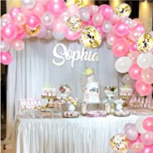 CADNLY Pink Balloons Garland Kit - 115-Piece White Pink and Gold Balloons for Pink Birthday Decorations Pastel Pink and White Baby Girl Balloon Arch for Baby Shower Decorations Party Supplies