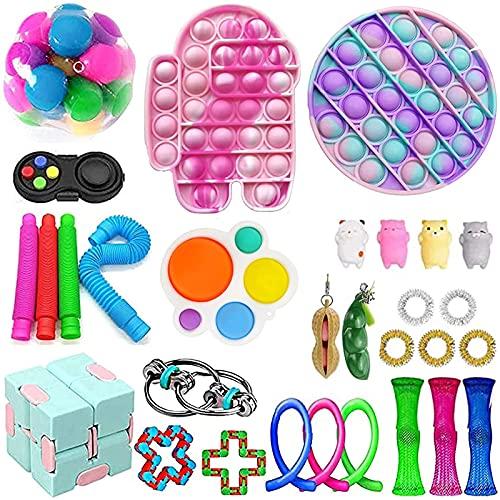 Tik Tok Fidget Toys Pack Cheap, Stress and Anxiety Relief Sensory Fidget Toys Set, Push Bubble Fidget Popper Toy for Children Adults, Sensory Toys Pack Cheap