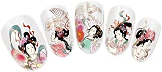 NiceDeco Nail Stickers Nail Tattoo Nail Decal Water Transfers Decals Oriental Floral Geisha Girls Design