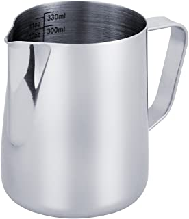 Anpro Milk Jug 350ml / 12 fl.oz, Stainless Steel Milk Pitcher, Milk Frothing Jug for Making Coffee Cappuccino