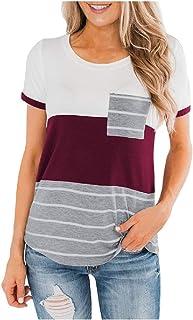 FAPIZI Womens Short Sleeve Blouse O Neck Stripe Printing Pocket Tee T-Shirt Splice Spring Raglan Sweatshirt Tops