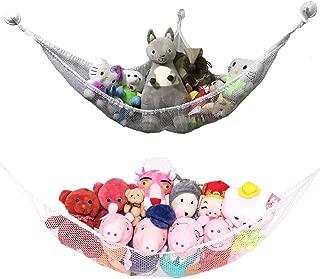 Jumbo Toy Hammock for Stuffed Animals, 59 inch Extra Large Mesh Toy Hammock 2 Pack, Small Hanging Bathtub Storage Net Organizer, Durable Mesh Toy Organizers for Kids