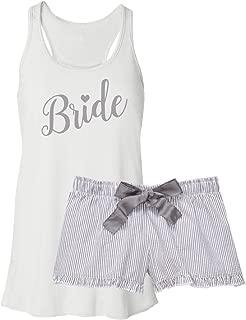 Bride Pajama Short Set - Silver Seersucker