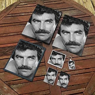 Tom Selleck - Original Art Gift Set #js001 (Includes - A4 Canvas - A4 Print - Coaster - Fridge Magnet - Keyring - Mouse Mat - Sketch Card)