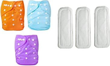 Okayji Baby Cloth Diaper Pants and Insert One Size Adjustable Washable Reusable, 3-Pieces