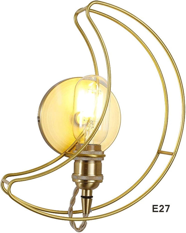 AXWT Nordic Messing Wandleuchte Mond Schlafzimmer Nachttischlampe Wohnzimmer Wandleuchte Kinderzimmer Kreative Lampe (Farbe   E27 copper body+copper lamp head)