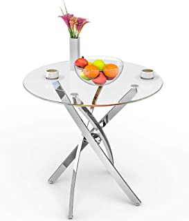 mecor Contemporary Glass Top Dining Table, Kitchen Bistro...