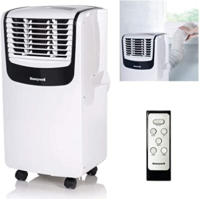 Honeywell MO10CESWK Compact 3-in-1 Portable Air Conditioner w/ Remote Control, Up to 450 Sq. Ft., White/Black