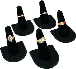 5 Black Velvet Ring Finger Jewelry Holder Showcase Display Stands