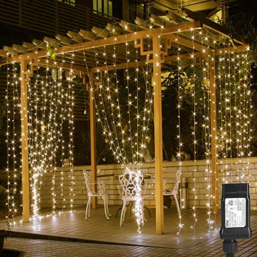 LE 594 LED Curtain Lights for Bedroom Wall Window Hanging Fairy String Lights for Wedding Backdrop Patio Birthday Party, Plug in Indoor Outdoor Decorative Dangling Vertical Twinkle Lights (20x10 ft)