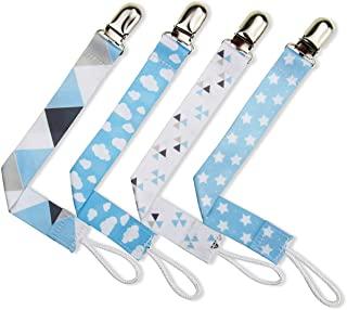 4 Pack Pacifier Clip Universal Binky Holder Leash for Boy Girl fits All Baby Teether Teething Toys or Soothie Gift Set