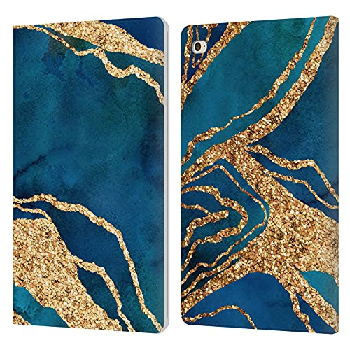 Head Case Designs Officially Licensed LebensArt Royal Blue And Gold Gemstone Marble Leather Book Wallet Case Cover Compatible With Apple iPad mini 4