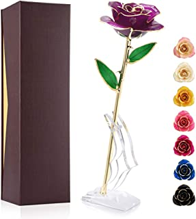 Gold Plated Rose 24K, Forever Preserved Real Rose Gift for Lover Mom Wife Daughter Girl Friend, Unique Present on Mother's...