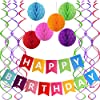 Famoby Colorful Happy Birthday Banner with 6 Pcs Colorful Honeycomb Poms Hanging Swirl for Fiesta Party Mexican Carnival Kids Family Birthday Party Decorations