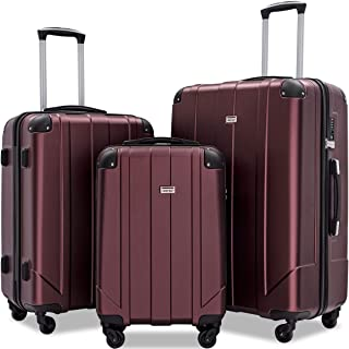 3 Pcs Luggage Set with Built-in TSA and Reinforced Corners, Eco-friendly P.E.T Light Weight Spinner Suitcase Set (Mahogany)