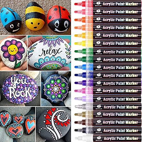 Acrylstifte Marker Stifte, 18 Farben Wasserfest Acrylstifte für Steine Bemalen, Acrylfarben Stifte für Kinder DIY Keramik Glas Porzellan Metall Kunststoff Holz Leinwand