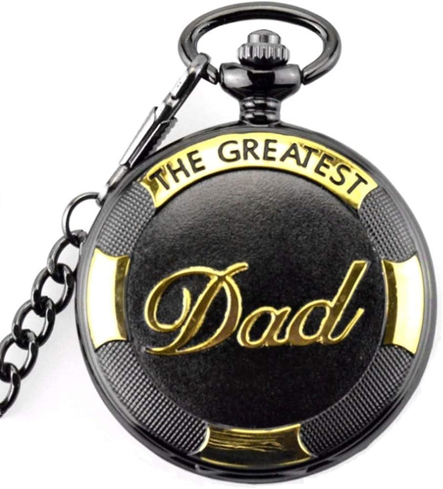 Reloj de bolsillo retro para el día del padre con colgante de cadena y números romanos de cuarzo, reloj negro de 81,5 cm