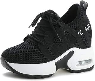 050cc505d8d354 tqgold® Baskets Compensées Femmes Chaussure de Sport Gym Fitness Jogging  Sneakers Basses Compensées 9 cm