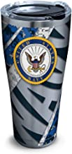 Tervis 1286607 Navy Stainless Steel Tumbler with Clear and Black Hammer Lid 30oz, Silver