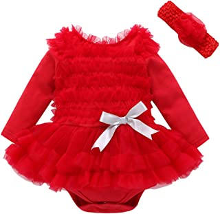 e963c7986 L-Tamop Newborn Baby Girls Princess Dresses Ruffles Party Romper Jumpsuit  Wedding Christening Lace Tutu