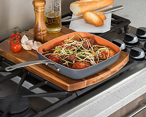 Gotham Steel Copper Square Shallow Pan with Super Nonstick Ti-Cerama Coating, 9.5 Inch