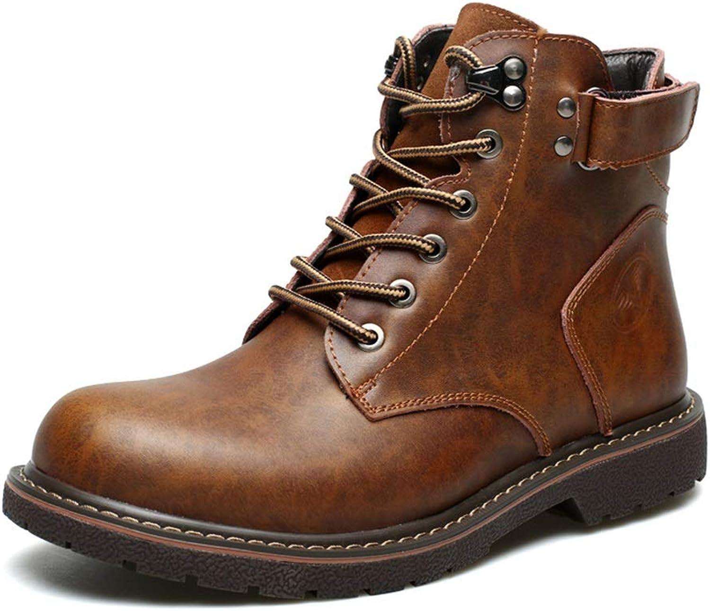 Qiusa Echtes Leder Stiefel für Mnner Soft Sohle Durable Non Slip Casual Stiefel (Farbe   Braun, Gre   EU 39)