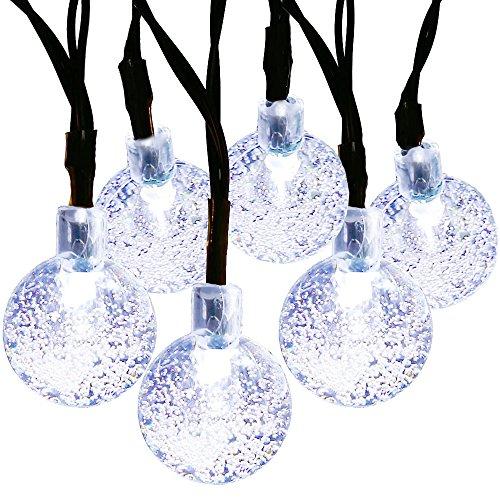 Outdoor Globe Lichterketten, Außen Wasserdicht 30 LED Crystal Ball Solar Lichterketten, Garten, Zaun, Weihnachten, Urlaub, Haus, Hochzeit, Partydekoration Beleuchtung, 21FT, 8-in-1-Modus (weiss)