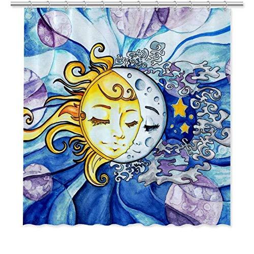 Ad4ssdu4 Duschvorhang Sonne & Mond, wasserfest