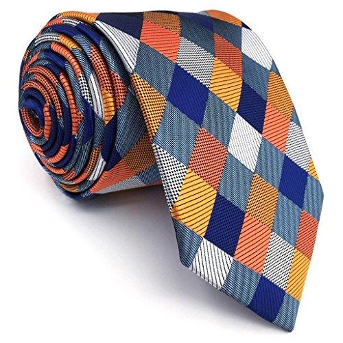 S&W SHLAX&WING Tie Conjunto des Herren Krawatte Azul Naranja a cuadros Classic 147cm