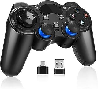 Mando Inalámbrico, Powcan 2.4G Wireless Gamepad, Controller Wireless Incorporado Bateria con Vibración Dual y TURBO para Windows/PS3/Android/Tablet / PC / TV o TV Box, Joystick Inalámbrico
