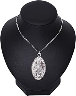 Guoshang Disc Virgin Mary Women/Men Christian Jewelry Medallion Pair with Cross Pendant Necklaces Religious Jewelry Miraculous Medal Patron Saint of Generosity,Silver