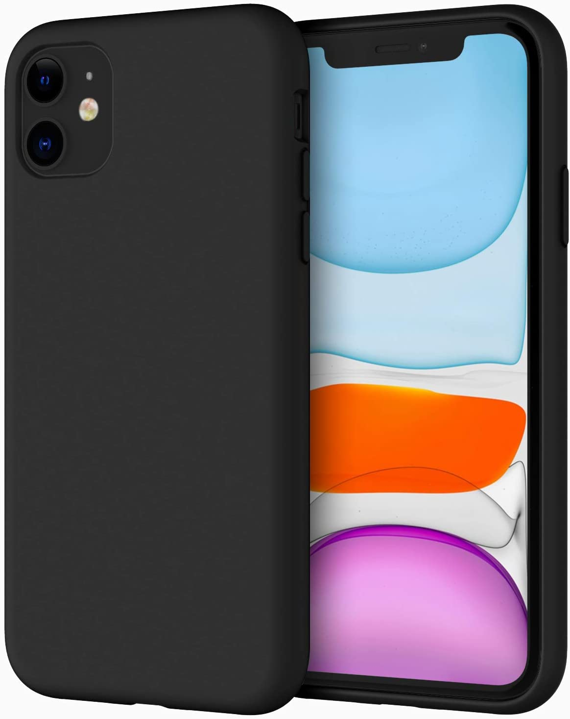 JETech Silicone Case for iPhone 11 (2019) 6.1-Inch, Silky-Soft Touch Full-Body Protective Case, Shockproof Cover with Microfiber Lining (Black)