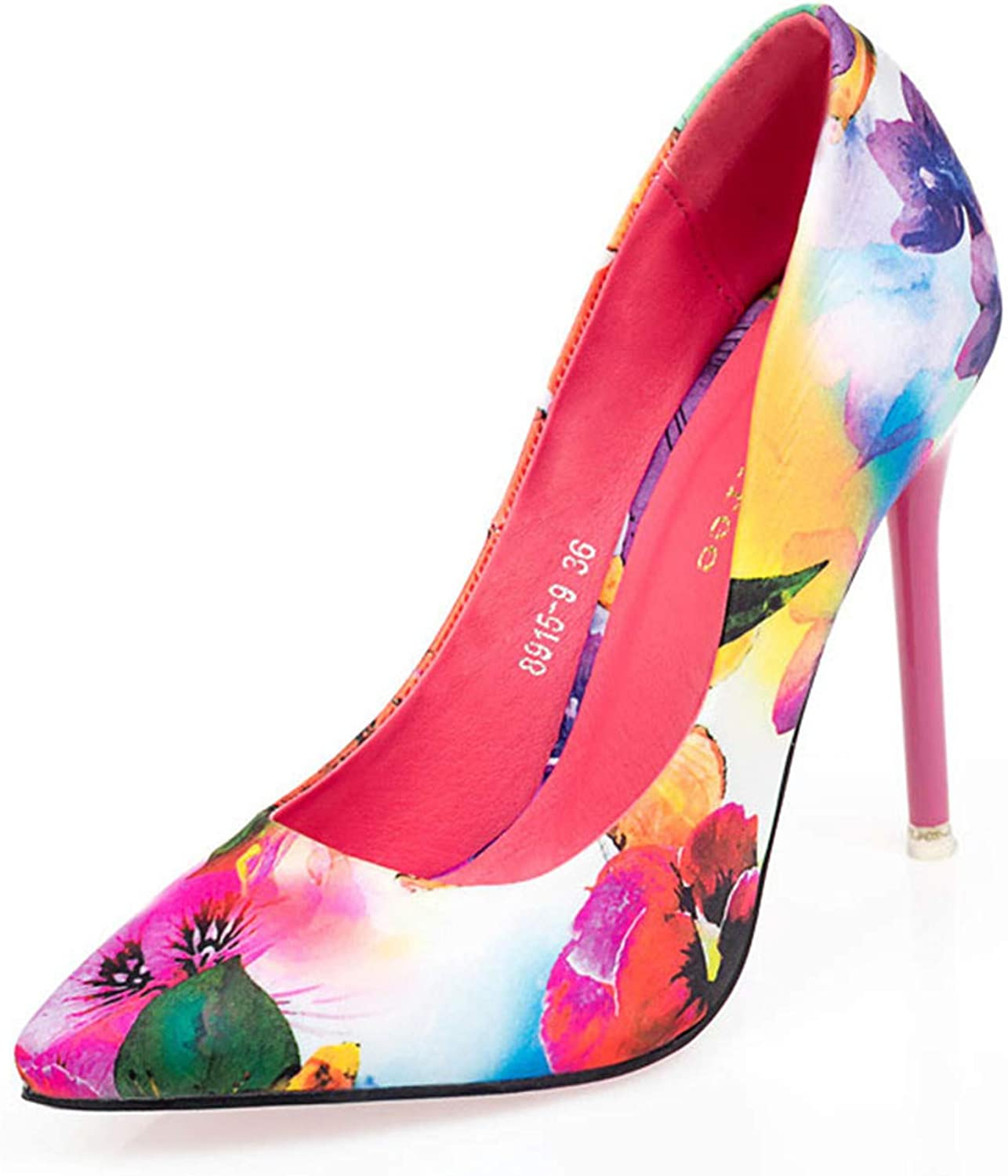 LLBubble Stiletto Heels Floral Women Pumps Pointed Toe Formal Party Dress shoes