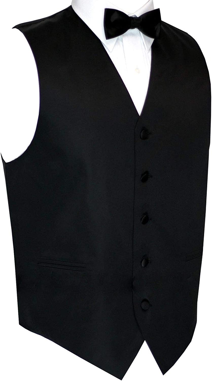 Now in Long Length Italian Design, Men's Tuxedo Vest, Bow-Tie & Hankie Set in Black
