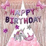 QAQGEAR 31PCS Globo cumpleaños princesa decoraciones Kit unicornio con globo de corona Globo de feliz cumpleaños Banner Astilla Globo de estrella rosa Cortinas de papel de oro rosa