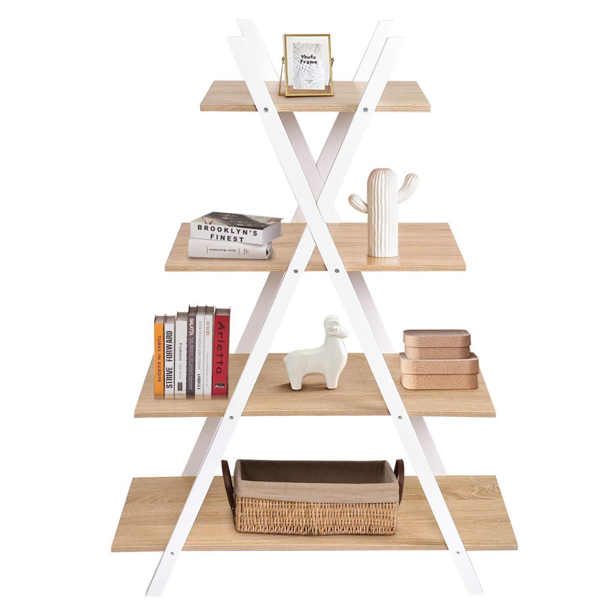 COSTWAY Estantería de Escalera de 4 Pisos Estante de Pie de Madera para Libros Plantas Decoraciones en Salón Terraza Dormitorio Estudio: Amazon.es: Hogar