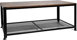 Hooseng Industrial Coffee, 2 Tier Cocktail, Metal Frame Living Room Sofa Table, Wood Look Home Storage Accent Furniture, Easy Assembly, Brown